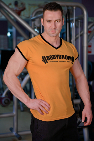 Bodydrom Men's Workout Tee Sleeveless Gym Training Casual Bodybuilding Muscle Fitness T Shirt Orange