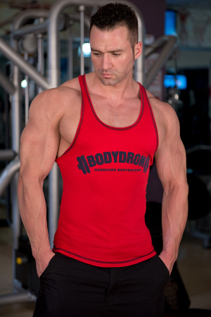 Bodydrom Men's Gym Tank Tops Workout Muscle Tee Training Casual Bodybuilding Fitness Red