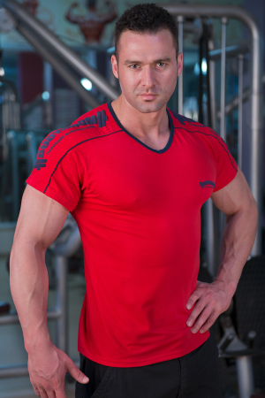 Bodydrom Men's Workout Tee Short Sleeve Gym Training Casual Bodybuilding Muscle Fitness T Shirt Red